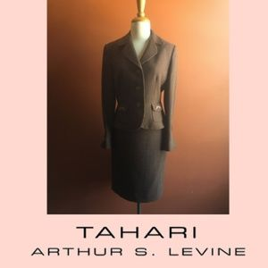 TAHARI ARTHUR S LEVINE Skirt Suit Brown Polkadot 8